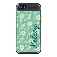 Personalized Aqua Floral Print SkinIt Cargo Case Case For iPhone 5