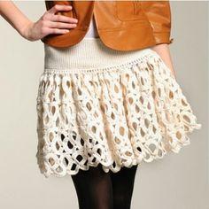 Blanco falda de ganchillo verano