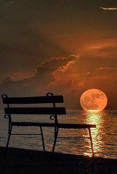 """""""The Moon Going Down In The Sea. Full moon is miles away. Beautiful Moon, Beautiful Places, Beautiful Pictures, Wonderful Places, Shoot The Moon, Moon Pictures, Destination Voyage, Amazing Sunsets, Night Skies"""