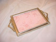 Vtg Hollywood Regency Vanity Tray with Picture Frame Small Silver tone Ornate