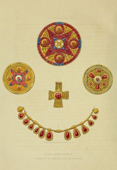 Anglo Saxon Jewels Discovered in the Barrows of Kent and Derbyshire, UK Published in Fairholt (1845) The archaeological album; or, Museum of national antiquities https://archive.org/details/archaeologicalal00wrig