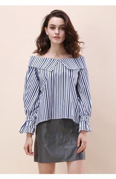 Striped Delight Off-shoulder Top - Tops - Retro, Indie and Unique Fashion