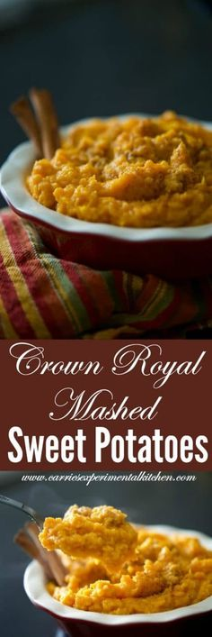 Sweet potatoes mashed until rich and creamy with Crown Royal whiskey, butter, milk, brown sugar, and cinnamon. #potatoes #sweetpotatoes #mashedpotatoes #sides #sidedish Side Dishes Easy, Vegetable Side Dishes, Side Dish Recipes, Lunch Recipes, Vegetable Recipes, Great Recipes, Breakfast Recipes, Vegetarian Recipes, Dinner Recipes