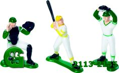 Wilton item number 2113-2155. Visit www.GalesWholesale.com for more information. 6pc Baseball Cake Topper Set w/batter, catcher, pi. With Wilton toppers, a decorated cake is just minutes away! Batter, catcher, pitcher and three basemen. 2 1/8 in. to 2 3/4 in. high. Wilton Cake Decorating, Wilton Cakes, Item Number, Catcher, Cake Toppers, Baseball