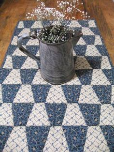 Nice with only 2 colors...  Quilted Table Runner/Wall Hanging Tumbler by TreasuredPrimitives, $48.00