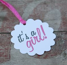 "Tags - ""It's a Girl"", pink, baby, sprinkle, Perfect for a Baby Shower, Adorable Favors For Baby Shower"