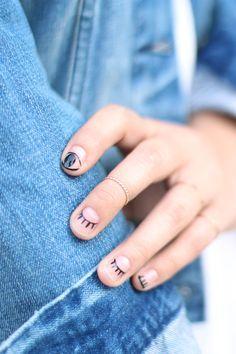 DIY eyelash nail art