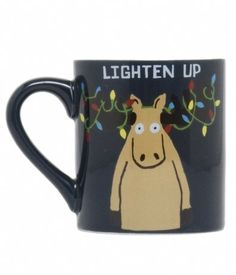 Funny, Back-to-Nature Coffee Mugs By Hatley - Stressed at Christmas? You can lighten up with this moose Christmas themed coffee mug.