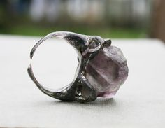 fluorite ring gemstone ring crystal ring by Blacksmithworkshop