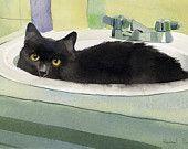 Black Cat Art Painting PRINT Watercolor Rachel Parker rachelsstudio Artist Artwork
