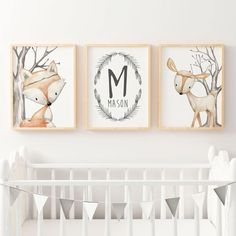 Set of 3 Nursery Prints. Boys Woodland Nursery or Bedroom Wall Art Prints. WOODLAND DEER NAME PRINT(PERSONALISED) WOODLAND FOX HOW TO ORDER- Simply leave a note at checkout of the following details- *NAME OR - If you would your own choice of text, please leave a record at