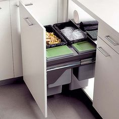 You can even mount recycling trash cans in your drawers.