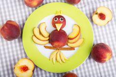 Pfirsich Vogel Foodie Kids Kinder Obst Snack Früchteteller