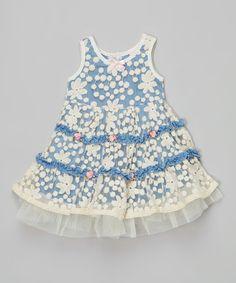 Blue Baby Chambray Lace Dress - Toddler #zulily #zulilyfinds