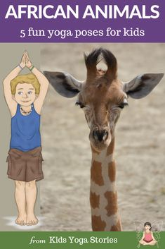 Yoga Poses : ** African Safari Animals ** Pretend to be a giraffe, elephant and zebra. 5 fun and easy yoga poses for kids to try at home while exploring the Savanna. Kids Yoga Poses, Cool Yoga Poses, Yoga For Kids, Savanna Animals, Jungle Animals, Animal Activities For Kids, Animals For Kids, African Animals, African Safari