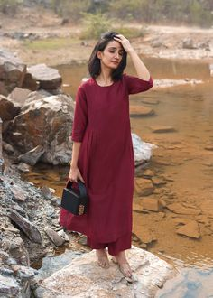 Black Anarkali, Office Wear, Burgundy, Cold Shoulder Dress, Silk, Casual, How To Wear, Cotton, Collection