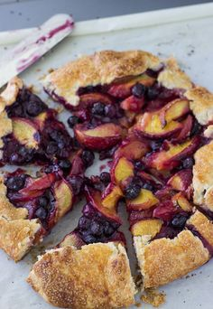 This peach blueberry galette is sweet and juicy with a tender, buttery crust and a warm filling of baked peaches and blueberries.