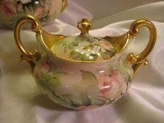 "Gorgeous Antique Limoges France Tea Set Hand Painted Roses ""Romantic Peach Apricot Tea Roses"" ~ Signed by Exceptional Artist Ester Miler ~ Tea Pot Matching Creamer and Sugar Bowl ~ Decorative Art Porcelain Heirloom Treasure ~ Circa 1900"