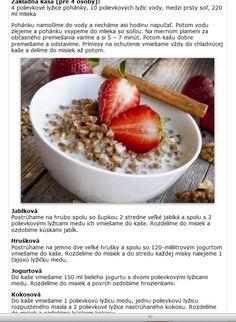 jáhlová kaše Healthy Food, Healthy Recipes, Oatmeal, Breakfast, Diet, Healthy Foods, The Oatmeal, Morning Coffee, Rolled Oats