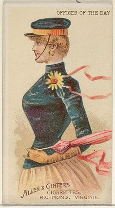 Officer of the Day, from the Parasol Drills series (N18 for Allen & Ginter Cigarettes Brands.  Publisher: Allen & Ginter  (American, Richmond, Virginia) Lithographer: Schumacher & Ettlinger (New York).  1868