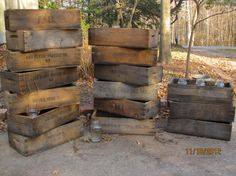 OLD WOODEN Cherry LugsOrchard Crates Burlap by naturescallingjess, $40.00