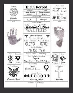 Birth Record Print ***30% OFF*** Birth Announcement, Baby, Nursery Art, Foot/hand Print, Gift, Child, Baby Shower, Custom Printable Design