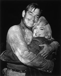 """Marilyn Monroe and Clark Gable during the filming of """"The Misfits"""", 1960."""