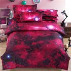 3D Duvet Quilt Cover Pillowcase Bedding Set Queen Double Size Red Starry Sky L