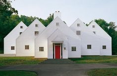 Jacobsen designed this home to look like a series of one room school houses from the exterior, but is in-fact a single family dwelling.