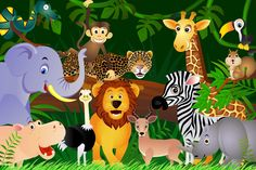 Jungle Animals Wallpaper Mural, custom made to suit your wall size by the UK's No.1 for wall murals. Custom design service and express delivery available.