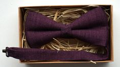 Men's Bow Tie / Pre-Tied Purple  Linen and by ArtOfLithuania