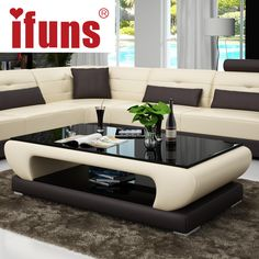 Online Shop IFUNS Living room furniture, modern new design coffee table, glass top wood base coffee table, small round glass tea table(fr) Sofa Table Design, Living Room Sofa Design, Bedroom Furniture Design, Coffee Table Design, Living Room Furniture, Living Room Designs, Coffee Tables, Centre Table Living Room, Center Table
