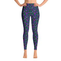 Super soft, stretchy and comfortable yoga leggings. Imported fabric that's printed, hand cut, and sewn in the USA. Polyester Spandex Fabric, Spandex Material, Women's Leggings, Leggings Are Not Pants, Printed Yoga Pants, Shades Of Teal, Purple And Black, Tartan, Casual Wear