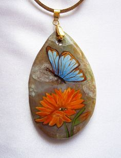 OOAK pendant Hand painted Jasper Hand painted jewelry by Elwelry