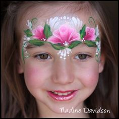 Crown- one stroke- roses- Nadine's Dreams Face Painting - Photo Gallery Face Painting Images, Face Painting Flowers, Face Painting Tips, Girl Face Painting, Face Painting Tutorials, Belly Painting, Face Painting Designs, Painting For Kids, Face Paintings