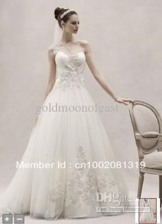 Actual Image!! One Shoulder Tulle Ball Gown with silver Lace Appliques A-line wedding dresses CKP421