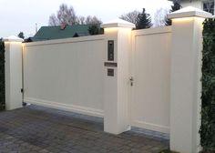 House Fence Design, Exterior Wall Design, Modern Fence Design, Front Gate Design, Door Gate Design, Concrete Fence Wall, House Front Gate, Compound Wall Design, Wooden Garden Gate