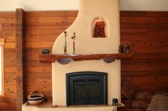 Fireplace -- Adobe small adobe fireplace with nook and shelf. Adobe Fireplace, Fireplace Redo, Dream Bedroom, Future House, Building A House, Cabin, House Styles, Mantles, Ovens