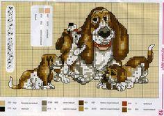 Cross-stitch Bassett Hound & puppies