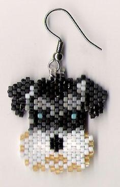 Hand Beaded Schnauzer Dog earrings by beadfairy1 on Etsy