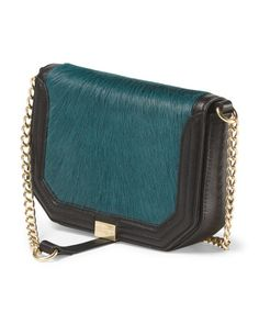 Jewel tones and texture make this a perfect fall bag   Leather And Faux Fur Crossbody