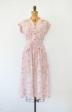 vintage 1940s violets floral print rayon dress