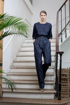 Christophe LemaireT-shirt and trousers in cotton denim