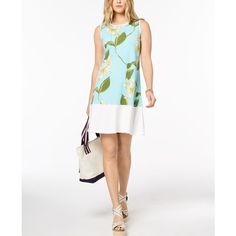 Tommy Hilfiger Floral-Print Shift Dress, Created for Macy's (€56) ❤ liked on Polyvore featuring dresses, mint multi, floral printed dress, sleeveless floral dress, white sleeveless dress, white shift dresses and mint dresses