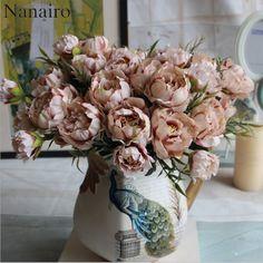 1 Dość Ślubu Bukiet Europejskiej Mini Piwonia Sztuczny Jedwab Kwiat Flores Bride bukiet Home Decoration Tanie Fałszywe Kwiaty