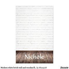 Modern white brick wall and wooden floors custom