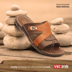 Give a breathable cool comfort for your sweaty feet this summer! Gents Slippers, Sandals 2018, Slipper Sandals, Brown Sandals, Men's Shoes, Flip Flops, Footwear, Comfy, Outdoor