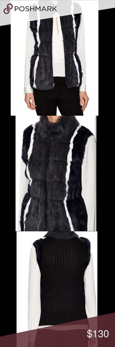 """JOCELYN Rabbit Reversible Knit-Back Vest! Size L Uber luxe reversible vest by Jocelyn. Outer is composed of bleached and dyed long hair rabbit fur, real! Sweater backing is a wool blend. Also has a stand collar, with buckle closure and front zip closure. Size L, about 25"""" from shoulder to hem. So comfy and so soft, will def keep its wearer toasty warm! Reversible inner is a poly lining, with zip pockets. BEAUTIFUL item! Happy Shopping! 🦄🦄 Jocelyn Jackets & Coats Vests"""