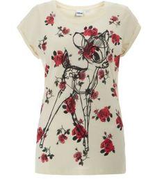 Cream Rose Print Bambi Sketch T-Shirt