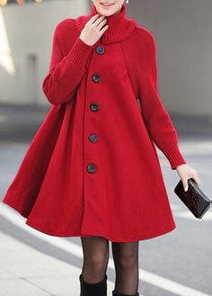 Button Closure Long Sleeve Red Swing Coat | lulugal.com - USD $38.33